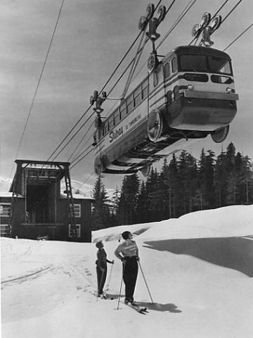 Plate 7, Bus converted to cable car, Oregon, 1953 photo