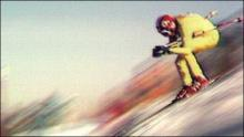 Franz Klammer, flying down the Innsbruck course in 1976