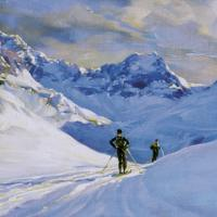 High Mountain Skier Painting